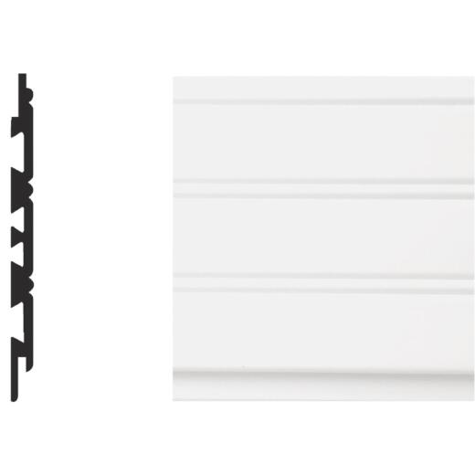 Royal 3/8 In. W. x 5-5/32 In. H. x 8 Ft. L. White PVC Wainscot Plank