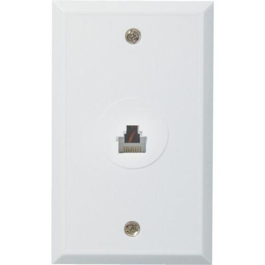 RCA White Flush Mount Plastic Ethernet Wall Jack