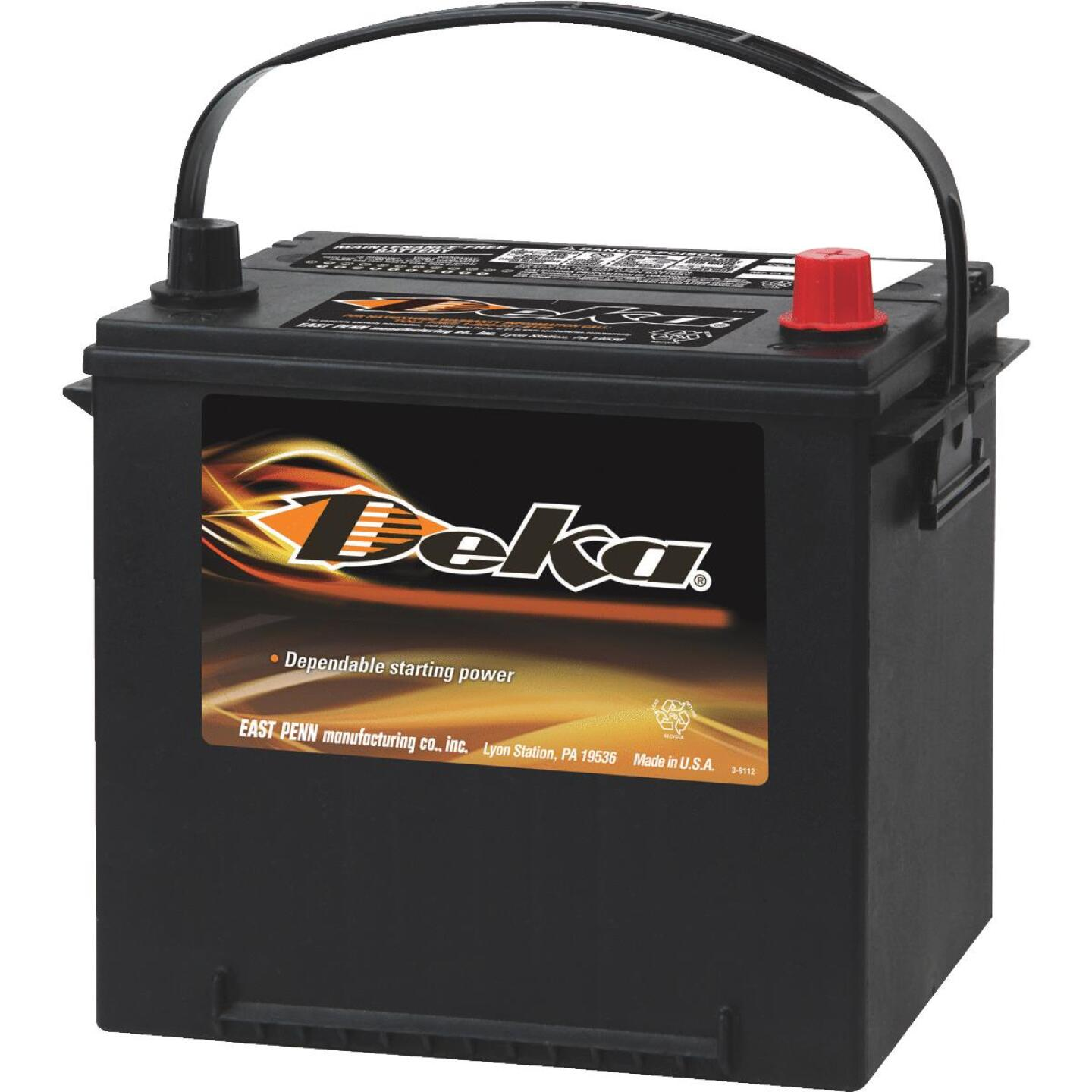 Deka Premium 12-Volt 550 CCA Automotive Battery, Top Post Right Front Positive Terminal Image 1