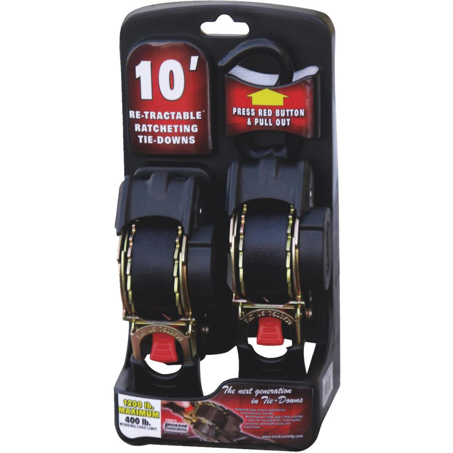 Erickson 1 In. x 10 Ft. 1200 Lb. Retractable Ratchet Strap (2-Pack) Image 2
