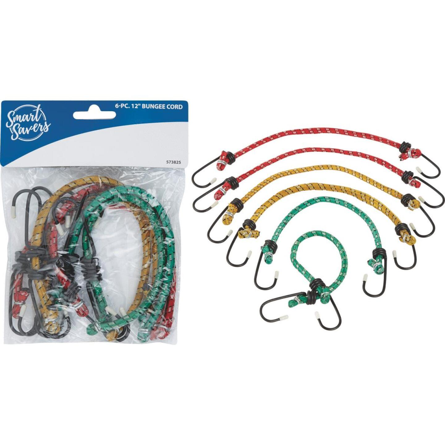 Smart Savers 6mm x 12 In. Coated Bungee Cord (6-Pack) Image 1