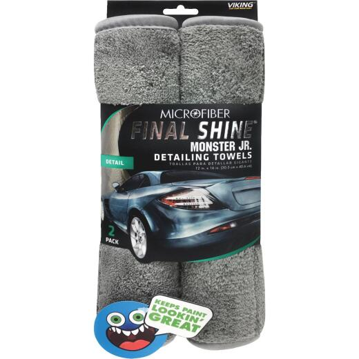 Viking Final Shine Monster Jr. 12 In. x 16 In. Gray Detailing Towel (2-Pack)