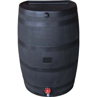 RTS Home Accents ECO 50 Gal. Black Recycled Polyethylene Rain Barrel